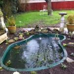 Newly installed large pre-formed fibreglass pond
